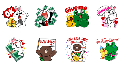 LINE Characters: Let's Pay Line Sticker GIF & PNG Pack: Animated & Transparent No Background | WhatsApp Sticker