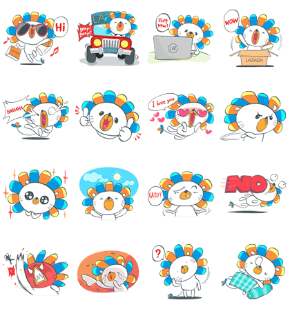 Laz, the Lion Invades LINE Line Sticker GIF & PNG Pack: Animated & Transparent No Background | WhatsApp Sticker