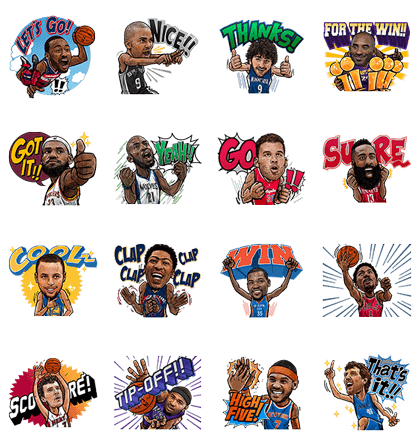 NBA Active Players Line Sticker GIF & PNG Pack: Animated & Transparent No Background | WhatsApp Sticker