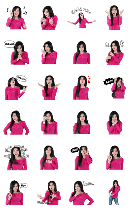 Oh So Fabulous Syahrini! Line Sticker GIF & PNG Pack: Animated & Transparent No Background | WhatsApp Sticker