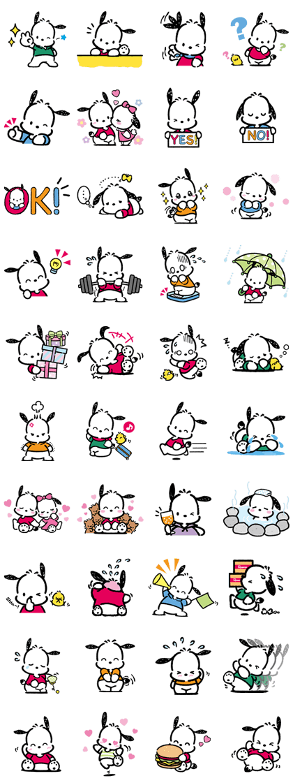 Pochacco Line Sticker GIF & PNG Pack: Animated & Transparent No Background | WhatsApp Sticker