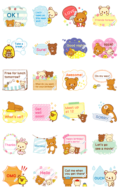 Rilakkuma Message Stickers Line Sticker GIF & PNG Pack: Animated & Transparent No Background | WhatsApp Sticker