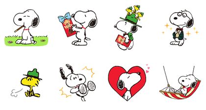 Snoopy × Pocky It's Go Time! Line Sticker GIF & PNG Pack: Animated & Transparent No Background | WhatsApp Sticker