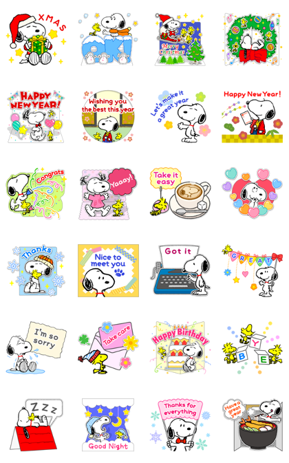 Snoopy Pop-Up Greeting Cards Line Sticker GIF & PNG Pack: Animated & Transparent No Background | WhatsApp Sticker