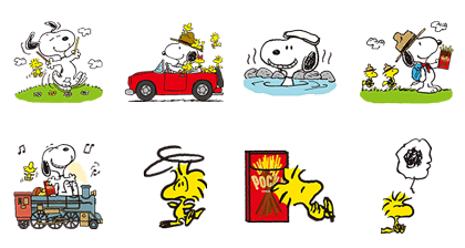 Snoopy's Day Out (Pocky) Line Sticker GIF & PNG Pack: Animated & Transparent No Background | WhatsApp Sticker