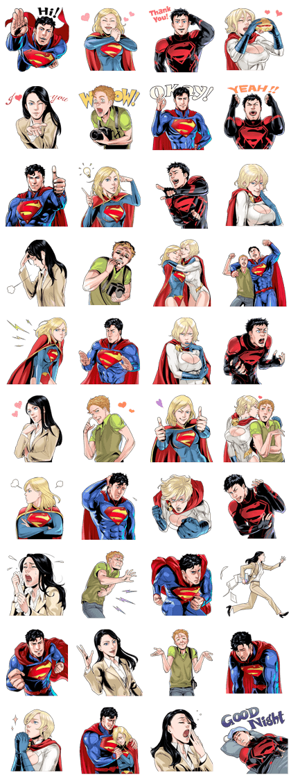 Superman Line Sticker GIF & PNG Pack: Animated & Transparent No Background | WhatsApp Sticker