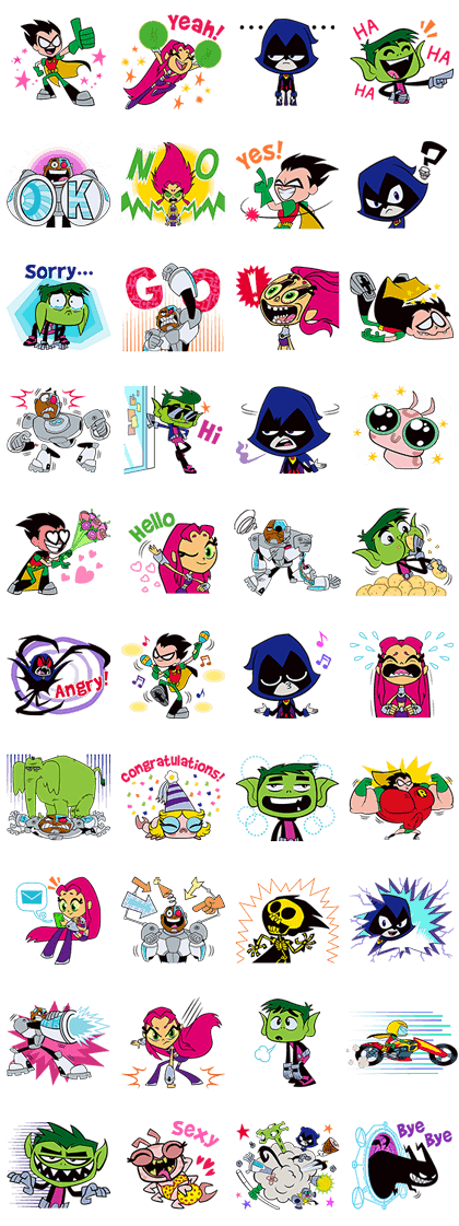 Teen Titans Go! Line Sticker GIF & PNG Pack: Animated & Transparent No Background | WhatsApp Sticker