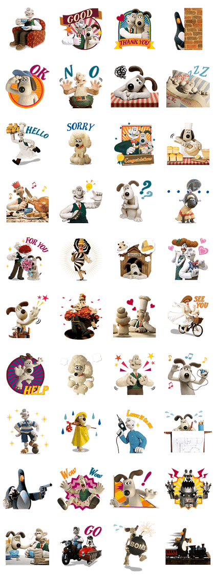Wallace & Gromit Line Sticker GIF & PNG Pack: Animated & Transparent No Background | WhatsApp Sticker