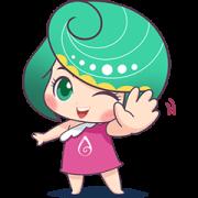 AOVA Abalone pretty girl Sticker for LINE & WhatsApp | ZIP: GIF & PNG