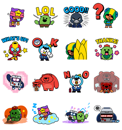 BRAWL STARS - ZANY ACTION STICKER PACK Line Sticker GIF & PNG Pack: Animated & Transparent No Background | WhatsApp Sticker