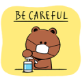 BROWN Infection Prevention Stickers Sticker for LINE & WhatsApp | ZIP: GIF & PNG
