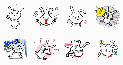 Beauty Rabbit MOCHIMI! Line Sticker GIF & PNG Pack: Animated & Transparent No Background | WhatsApp Sticker