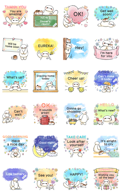 Big Hero 6 Message Stickers Line Sticker GIF & PNG Pack: Animated & Transparent No Background   WhatsApp Sticker