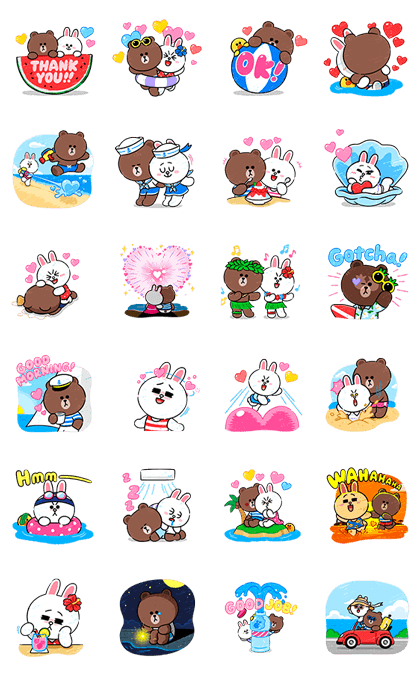 Brown & Cony in Love Line Sticker GIF & PNG Pack: Animated & Transparent No Background   WhatsApp Sticker