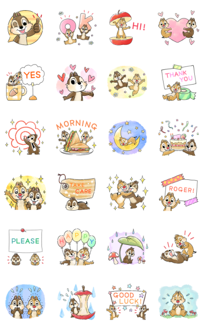 Chip 'n' Dale Pop-Up Stickers (ver. 2) Line Sticker GIF & PNG Pack: Animated & Transparent No Background | WhatsApp Sticker