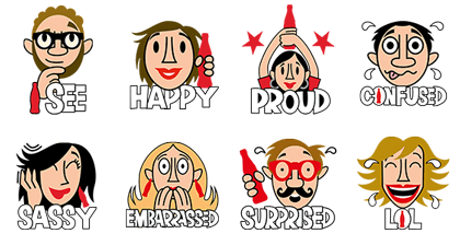 Coca-Cola Emotions Line Sticker GIF & PNG Pack: Animated & Transparent No Background | WhatsApp Sticker
