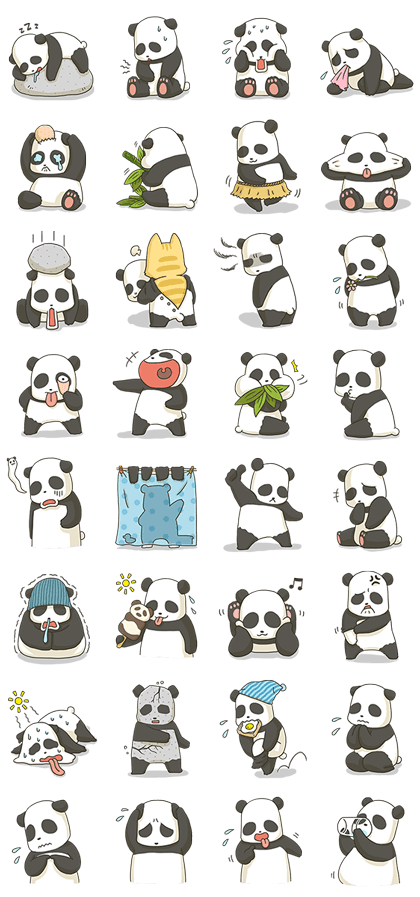 Fatty the Panda Line Sticker GIF & PNG Pack: Animated & Transparent No Background | WhatsApp Sticker