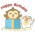 Feo Fao the Monkey Sticker for LINE & WhatsApp | ZIP: GIF & PNG