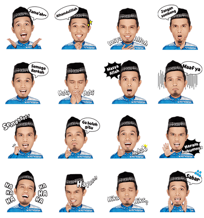 Fun Ramadhan with Ustadz Maulana Line Sticker GIF & PNG Pack: Animated & Transparent No Background | WhatsApp Sticker