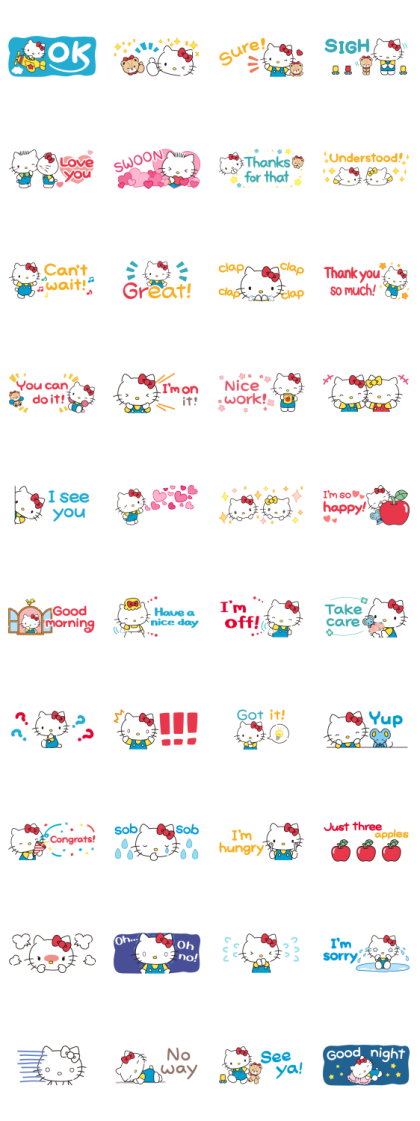 Hello Kitty Small Stickers Line Sticker GIF & PNG Pack: Animated & Transparent No Background | WhatsApp Sticker