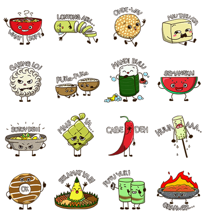 Indonesian Culinary Line Sticker GIF & PNG Pack: Animated & Transparent No Background | WhatsApp Sticker