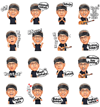 Iwan Fals' Musical Stickers: Oi! Line Sticker GIF & PNG Pack: Animated & Transparent No Background | WhatsApp Sticker