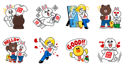 LINE Characters at UNIQLO Line Sticker GIF & PNG Pack: Animated & Transparent No Background | WhatsApp Sticker
