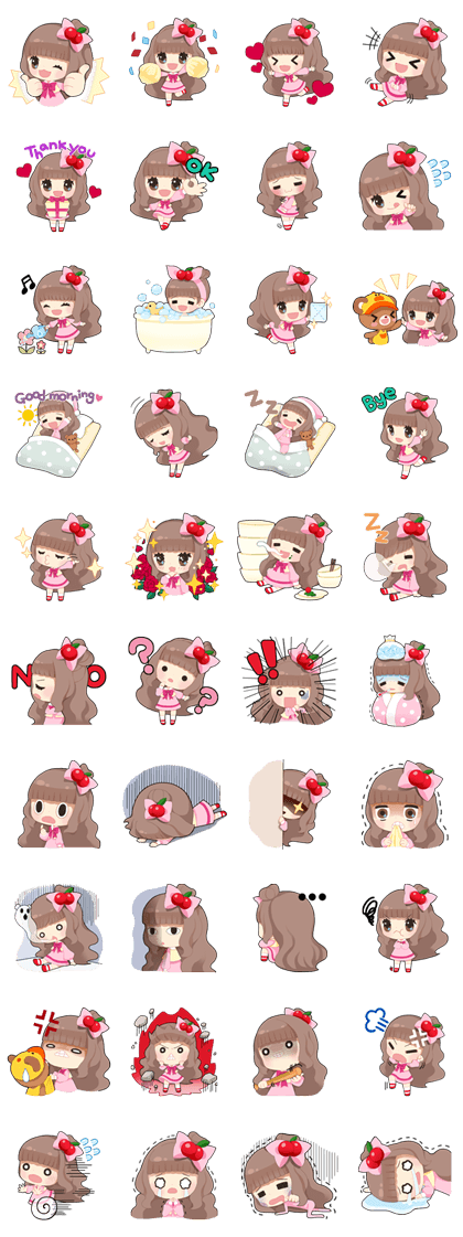LINE PLAY Cherry's Sweet Day Line Sticker GIF & PNG Pack: Animated & Transparent No Background   WhatsApp Sticker