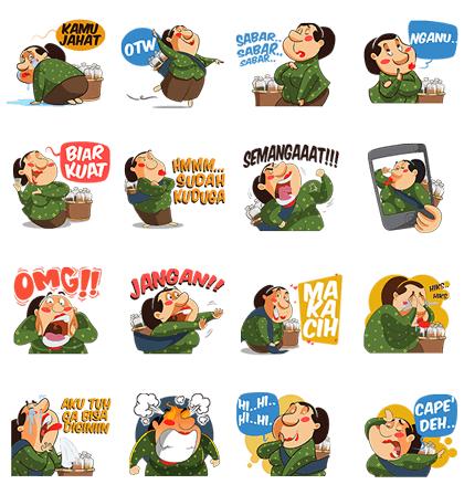 Mbok De's Traditional Herbs Line Sticker GIF & PNG Pack: Animated & Transparent No Background | WhatsApp Sticker