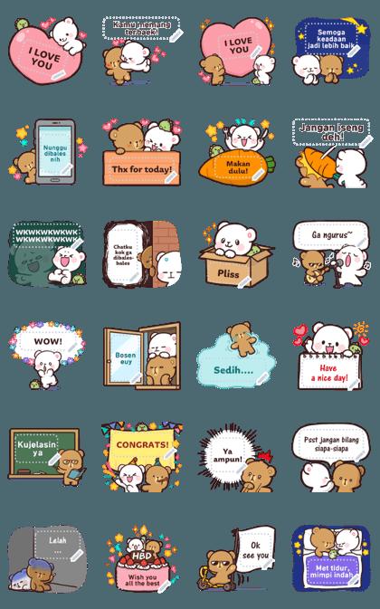 Milk & Mocha Message Stickers (Indo) Line Sticker GIF & PNG Pack: Animated & Transparent No Background   WhatsApp Sticker
