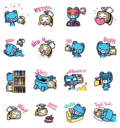 OOKBEE & RoBEAR Enjoy E-Books by OOKBEE | 3241 Line Sticker GIF & PNG Pack: Animated & Transparent No Background | WhatsApp Sticker