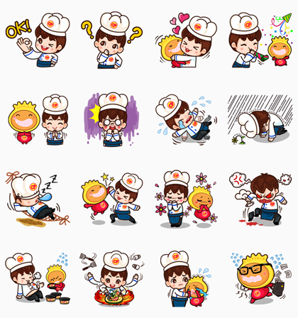 P' Chef & N' Kyo Line Sticker GIF & PNG Pack: Animated & Transparent No Background | WhatsApp Sticker