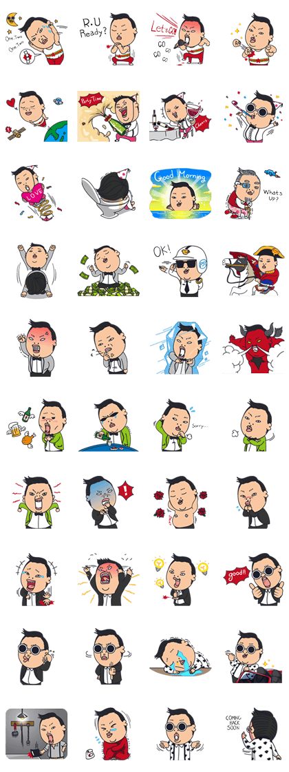 PSY 3rd Special Edition Line Sticker GIF & PNG Pack: Animated & Transparent No Background | WhatsApp Sticker