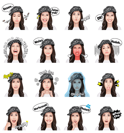 Pevita, the Tomboy Girl Line Sticker GIF & PNG Pack: Animated & Transparent No Background | WhatsApp Sticker