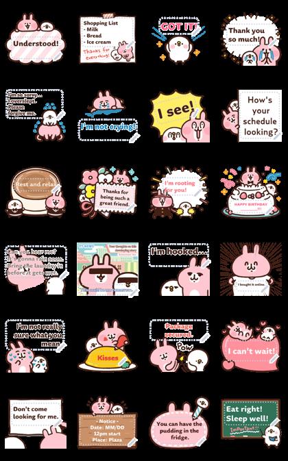 Piske & Usagi Message Stickers Line Sticker GIF & PNG Pack: Animated & Transparent No Background | WhatsApp Sticker