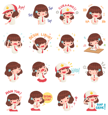 Syerin Saraswati Line Sticker GIF & PNG Pack: Animated & Transparent No Background | WhatsApp Sticker