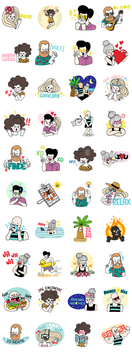 A Summer Crew Line Sticker GIF & PNG Pack: Animated & Transparent No Background | WhatsApp Sticker