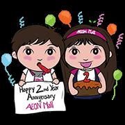 AEON Mall 2nd Anniversary Sticker for LINE & WhatsApp | ZIP: GIF & PNG