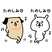 Amazon's Pochi & Yuru Usagi Stickers Sticker for LINE & WhatsApp | ZIP: GIF & PNG