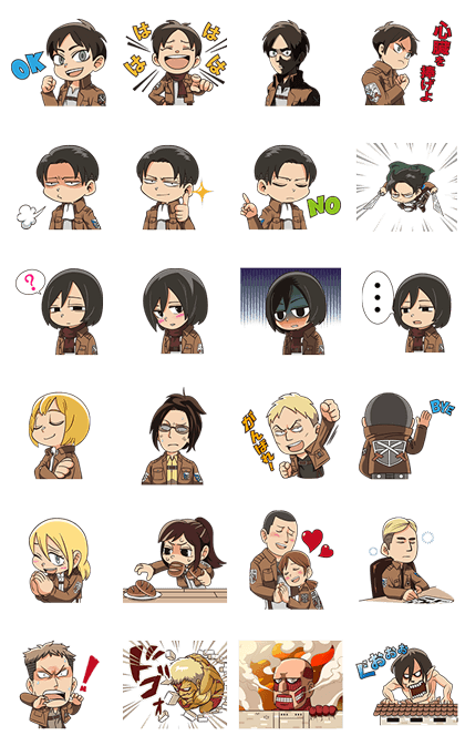 Attack on Titan Animated Stickers Line Sticker GIF & PNG Pack: Animated & Transparent No Background | WhatsApp Sticker