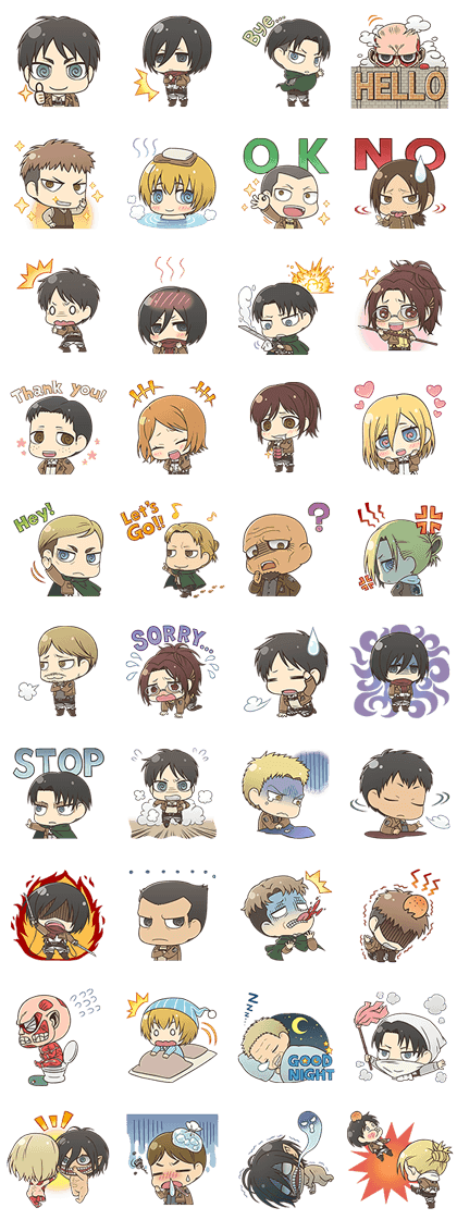 Attack on Titan Chimi-Chara Ver. Line Sticker GIF & PNG Pack: Animated & Transparent No Background | WhatsApp Sticker