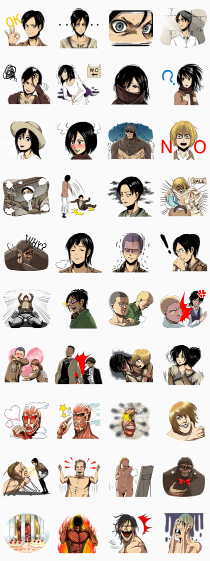 Attack on Titan Line Sticker GIF & PNG Pack: Animated & Transparent No Background | WhatsApp Sticker