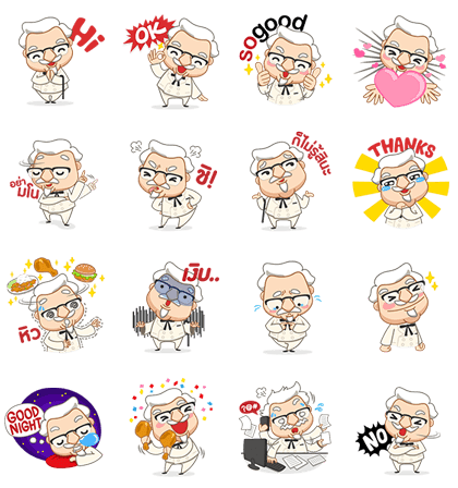 Colonel Sanders | 2438 Line Sticker GIF & PNG Pack: Animated & Transparent No Background | WhatsApp Sticker
