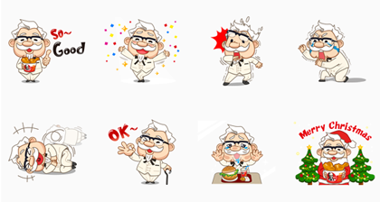 Colonel Sanders | 623 Line Sticker GIF & PNG Pack: Animated & Transparent No Background | WhatsApp Sticker