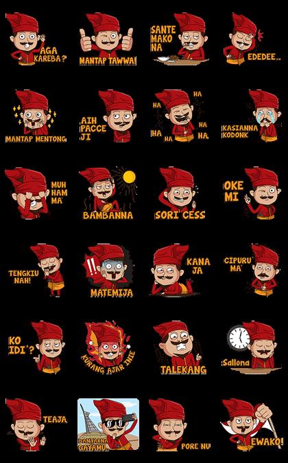 Daeng Makassar Line Sticker GIF & PNG Pack: Animated & Transparent No Background | WhatsApp Sticker