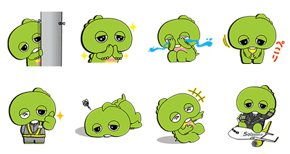 Gachapin × Solaseed Air Stickers Line Sticker GIF & PNG Pack: Animated & Transparent No Background | WhatsApp Sticker