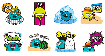 Galaxy Monsters Summer Edition Line Sticker GIF & PNG Pack: Animated & Transparent No Background | WhatsApp Sticker