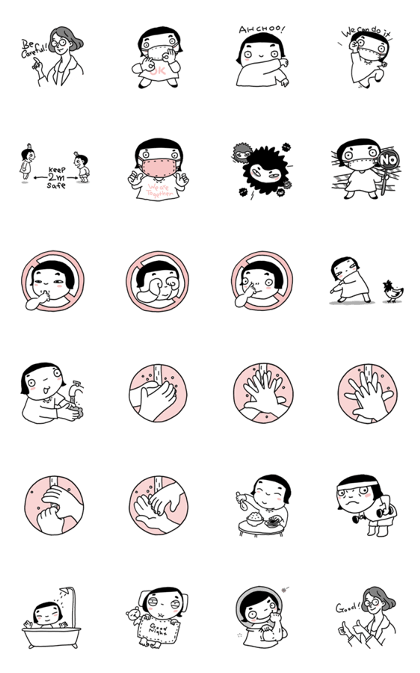 Good Bye, Corona19! Line Sticker GIF & PNG Pack: Animated & Transparent No Background   WhatsApp Sticker