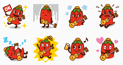 Hot Pepper Gourmet Peparo Line Sticker GIF & PNG Pack: Animated & Transparent No Background | WhatsApp Sticker