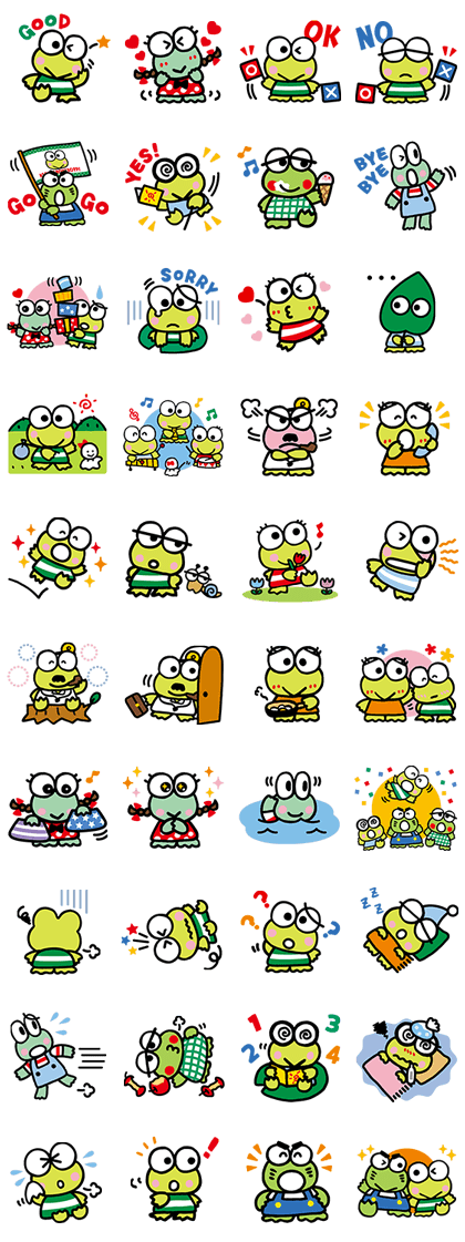 KEROKEROKEROPPI (Friends) Line Sticker GIF & PNG Pack: Animated & Transparent No Background | WhatsApp Sticker